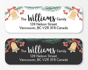 Personalized Holiday Return Address Labels, Custom Christmas Self-Adhesive Labels, Return Address Stickers, RAL34