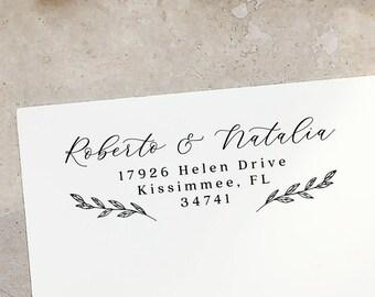 Return Address Stamp, Custom Self-Inking Stamp, Self Ink Return Address Stamp or Rubber Wood Stamp, Wedding Stamp, PS68