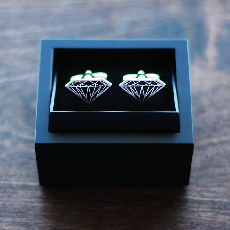 Groom Father/'s Day Diamond Cufflinks Black Diamond Cufflinks Freighter with Full Tilt V-Posts Wedding Cufflinks Cuff Links Best Man