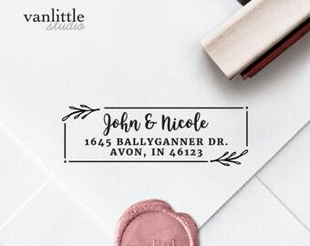 Return Address Stamp, Custom Self-Inking Stamp, Self Ink Return Address Stamp, Rubber Wood Stamp, Wedding Stamp, Ship from the U.S., PS4