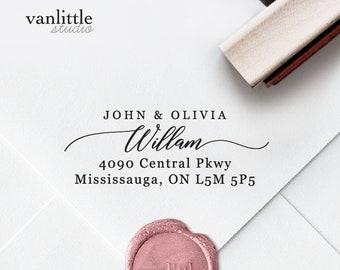Return Address Stamp, Custom Self-Inking Stamp, Self Ink Return Address Stamp, Rubber Wood Stamp, Wedding Stamp, Ship from the U.S., PS17