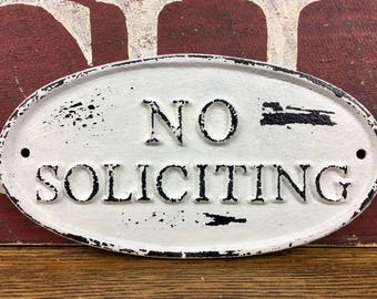 No Soliciting Sign, Rustic Cast Iron Door Plaque, Oval Farmhouse Porch Signage, Black and White Cottage Wall Hanging, Metal No Solicitation