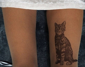 Original drawing on  tights. Cat tattoo pantyhose