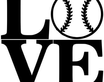Love baseball decal sticker