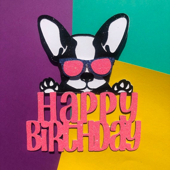 French Bulldog Cake Topper Birthday Party Decoration Customizable colors with Personalization Frenchie Lovers Cake Topper Paper Insert