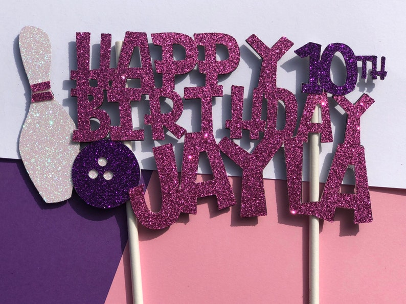 Bowling Birthday Cake Topper For Girls