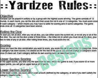 PDF 11x17 Yardzee Rules