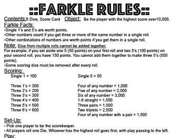 photo relating to Farkle Rules Printable identified as Farkle Etsy