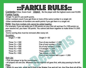 photo about Farkle Instructions Printable named Farkle Etsy