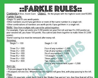photo about Farkle Rules Printable named Farkle Etsy