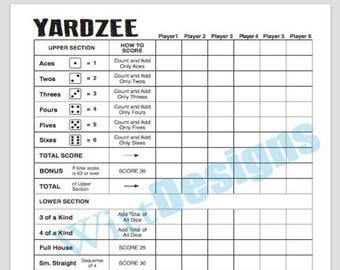 PDF 8.5x11 yardzee instant download scorecard