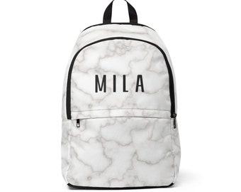 Modern personalized marble print name backpack 33291ef6daa08
