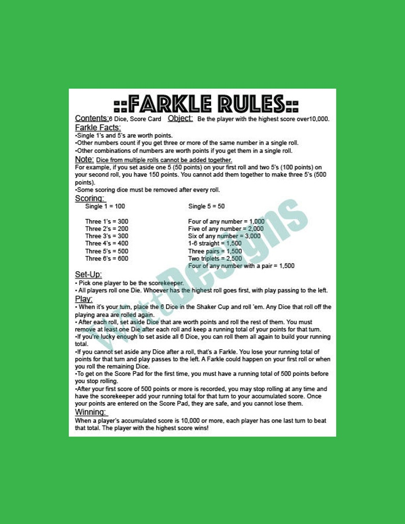 image regarding Farkle Instructions Printable titled PDF 8.5x11 Farkle regulations fast down load PDF record in direction of help save and print as countless as your self have to have