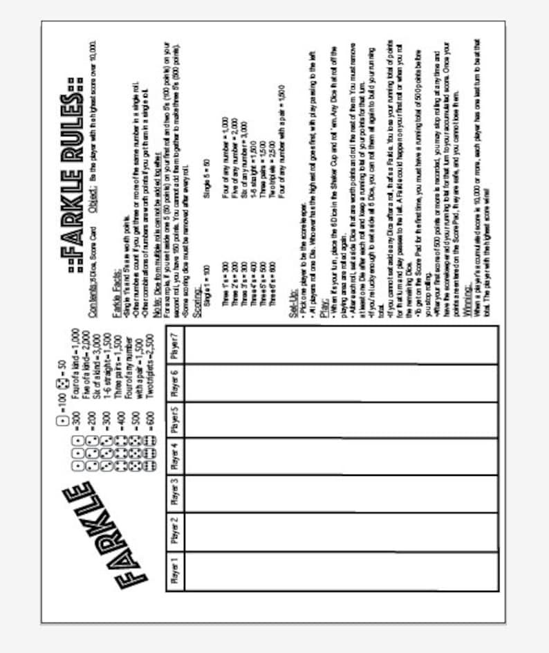image regarding Printable Farkle Score Sheets named PDF 8.5x11 farkle and farkle pointers just one web site