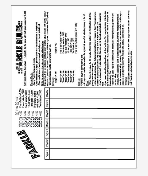 photograph relating to Farkle Rules Printable identified as PDF 8.5x11 farkle and farkle suggestions just one web site