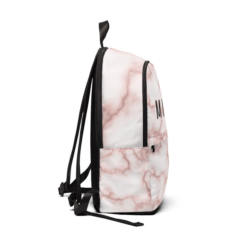 Personalized marble print name backpack book bag laptop backpack
