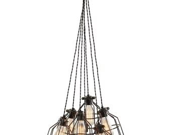 Multi Pendant Light - Modern Pendant Light - Lighting - Cage Chandelier - Pendant Light - Ceiling Light -Ceiling Fixture - Hanging Light