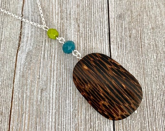 Long Chain Necklace  Old Palmwood Pendant  Olive Green Czech Glass  Teal Crystals