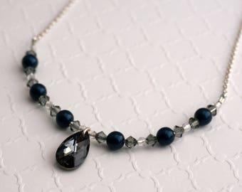 Swarovski Graphite Crystal and Petrol Pearl Necklace