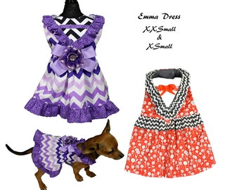 Emma Dog Dress Pattern -XXSMALL & XSMALL- Dog Clothes Sewing Pattern PDF, Dog Dress, Dog Harness, Pet Clothes Tutorial