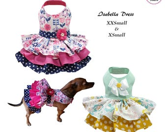 Isabella Dog Dress -XXSMALL & XSMALL- Sewing Pattern PDF, Dog Clothes Pattern, Dog Dress, Pet Clothes Tutorial and Sewing Pattern