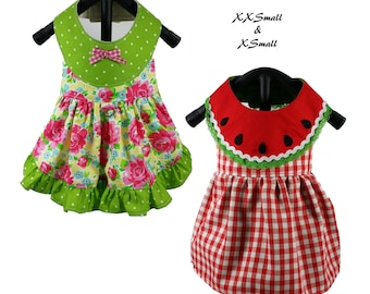 Watermelon Dog Dress Pattern -XXSMALL & XSMALL- Dog Clothes Sewing Pattern PDF, Dog Dress, Dog Harness, Pet Clothes Tutorial