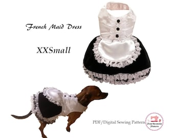 French Maid Dog Dress -XXSMALL- Sewing Pattern PDF, Dog Clothes Pattern, Dog Dress, Dog Harness, Pet Clothes Tutorial and Sewing Pattern