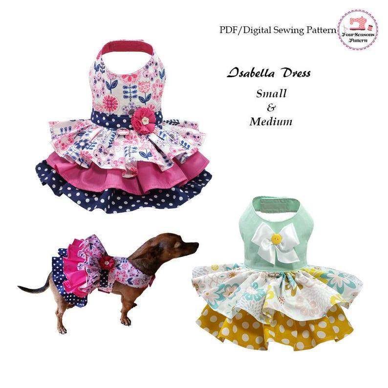 Isabella Dog Dress SMALL & MEDIUM Sewing Pattern PDF Dog image 0