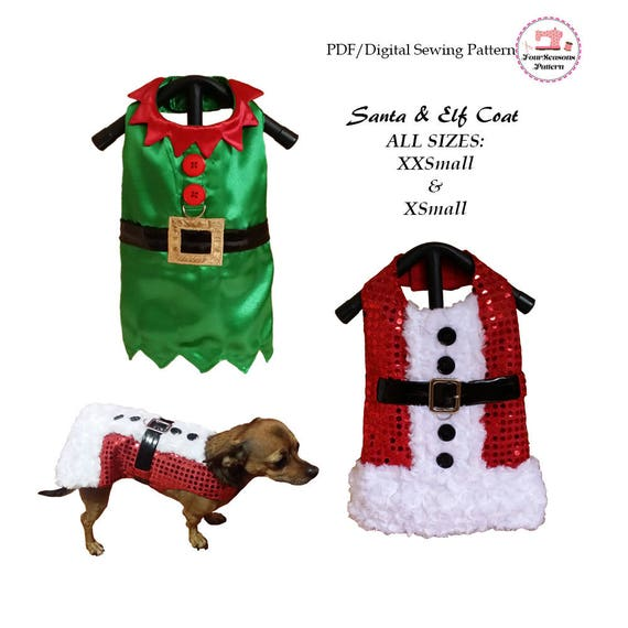Santa And Elf Dog Coat All Sizes Sewing Pattern Pdf Dog Etsy