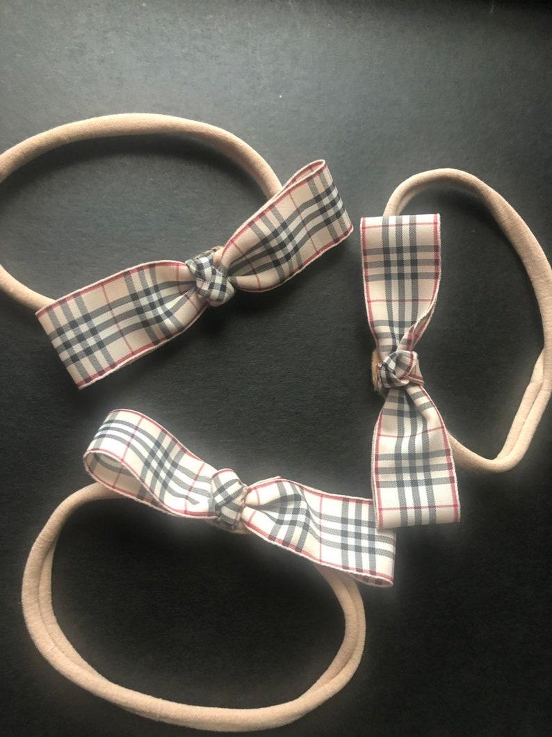 joli design large choix de couleurs styles de mode 1 headband Authentic Burberry Bow headband nylon headband Burberry headband  beige bow or brown plaid bow 1 headband