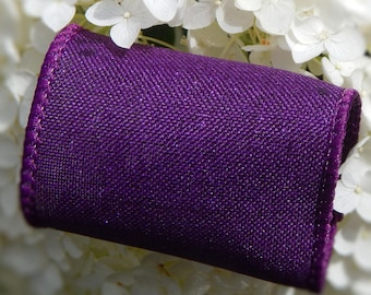133 Sparkly DARK PURPLE Wired Linen Burlap Wedding Napkin Rings Purple Napkin Holder Fall Wedding Decor Purple w/ metallic Ready to Ship