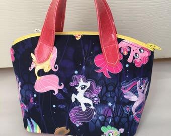 Lola Mini Girls Purse Handbag, My Little Pony, Seaponies, glitter vinyl, bronies