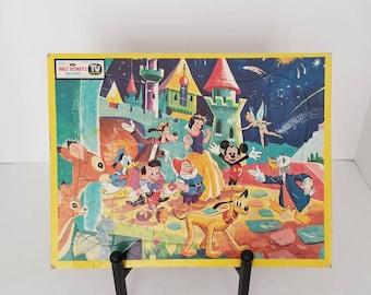 VINTAGE Walt Disney puzzle set, Mickey Mouse, Snow White, Tinkerbell, Disney Princess, Snow White, Castle, Disneyland, Nursery Decor, Baby