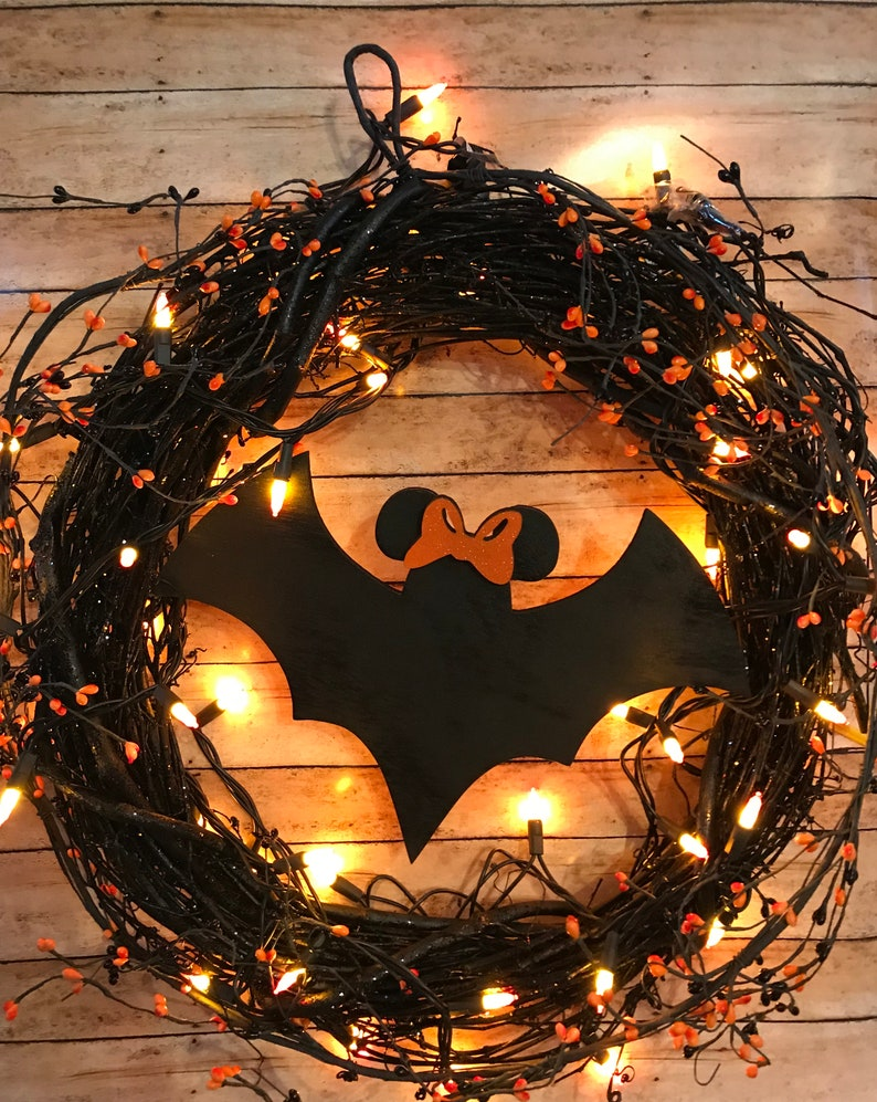 Mickey and Minnie BatsHalloween Wreath Halloween Decor image 0