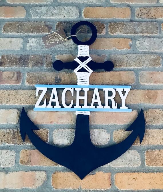 Anchor Door Hanger Name Signanchor Welcome Wreathnautical Etsy