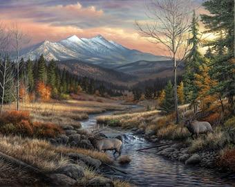 "Wildlife Landscape Art Print - ""A Wanderer's Dream"" Painting by Chuck Black"
