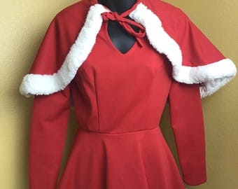 Christmas Santa's Helper Red Dress with Attached Cape and matching hat size XS
