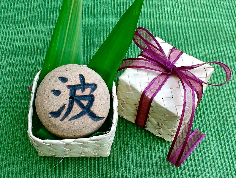 FREE SHIPPING,Aloha Zen Rock w/Hawaiian Lauhala gift box,Japanese Incense  burner, Wave, Star, Fox, Awake, Heron, Good-luck gift pottery, 2