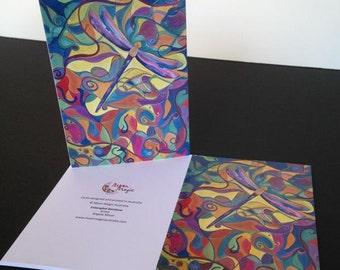 Dragonfly Card Dragonfly Print Card Art Card Blank Card Greeting Card Blank dragonfly Cards Rainbow Dragonfly Card Happy Birthday
