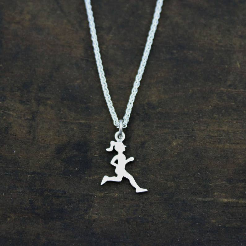 4166a2c5b LUXE RUNNER GIRL Silhouette Sterling Silver Charm or Necklace | Etsy