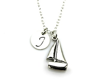 CATAMARAN INITIAL NECKLACE in Sterling Silver - Sailing - Sailor necklace *