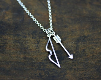 Limited BOW and ARROW Necklace in sterling silver- valentine's day gift - hunger games katniss inspired - girlfriend gift - wife anniversary