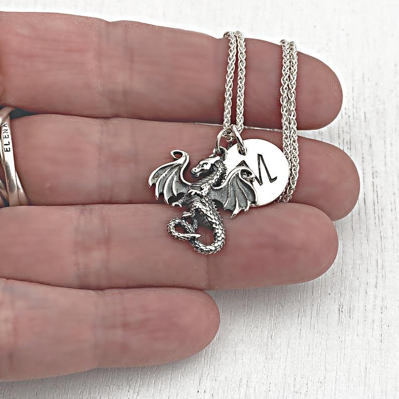 DRAGON \u2022 INITIAL \u2022 Hand Stamped \u2022 Sterling Silver \u2022 Necklace