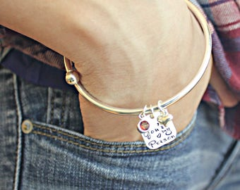 YOU'RE My PERSON Birthstone Best Friend Twist Open Sterling Silver Bangle Bracelet