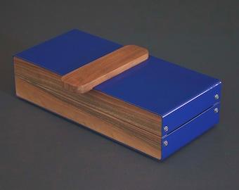 Watch Box Wood, Watch Storage Case, Walnut Watch Storage Box, Personalized Watch Box, Modern Watch Box For Men, Blue Watch Holder
