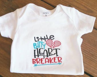 Boys Valentine onesie with Lottle Bitty Heart Breaker embroidered on front.