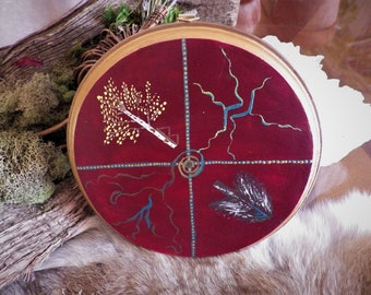 The Birch Goddess, The Sun Wheel and The Aesir Rune wall hanging