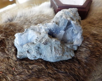 Raw Natural Celestite Crystal Geode Cluster -  energy and meditation stones