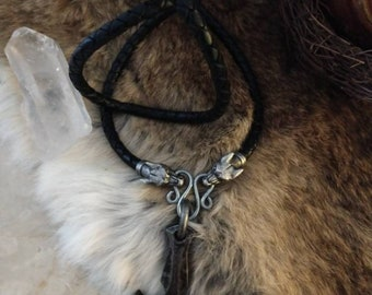 Halvor Forged Thor's Hammer with dragon clasp and braided leather bolo   Forged Thor's Hammer Pendant  Viking Jewelry Asatru Jewelry