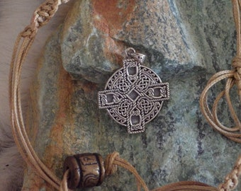 Sterling Silver Celtic Irish Cross Sun Wheel Pendant  - Celtic Jewelry,